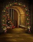 Corona de Navidad arco puerta Photography Árbol de Navidad Vintage castillo interior fondo para estudio fotográfico 8X 10ft