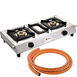 Blue Eagle Luxmi Classic D.T Stainless Steel 2 Burner Gas Stoves with 1.5m Lpg Hose Pipe Combo, 14-inch (Silver)