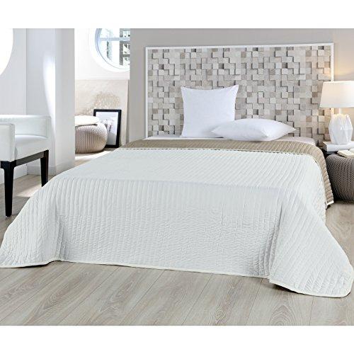 JEMIDI Bett und Sofaüberwurf My Home gesteppt 220 x 240cm Überwurf Tagesdecke Sofa Couch Decke (Uni Sand/Creme)