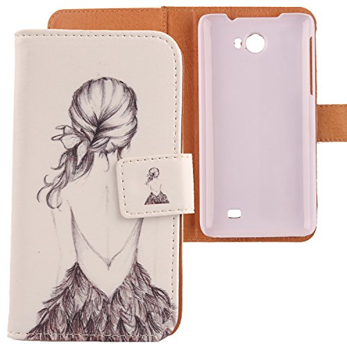 Lankashi PU Flip Leder Tasche Hülle Case Cover Schutz Handy Etui Skin Für Kazam Trooper 2 5.0 Back Girl Design