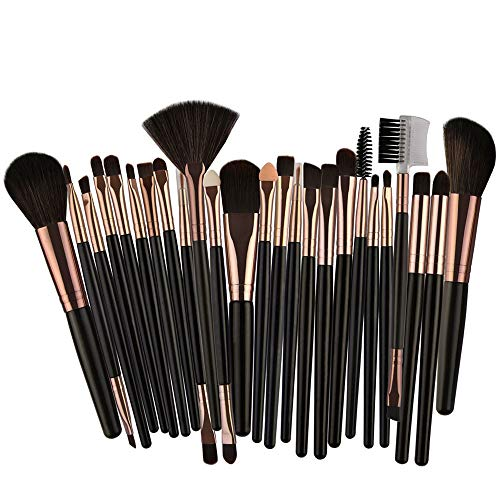 Cwemimifa Lidschattenpinsel-Set mit Etui,25pcs Cosmetic Makeup Brush Blusher Eye Shadow Brushes Set Kit,Schwarz - Große Shadow Brush