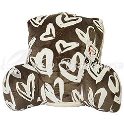 daunex–Cojín de lectura, apoyo para la espalda para cama, sofá o sillón, cm 60x 45x 30–Original morbidotto–Gris Oscuro–Corazones Love