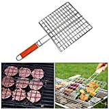 Dharmik Enterprise Stainless Steel Non Stick BBQ Barbecue Square Wire Grill Pan Basket
