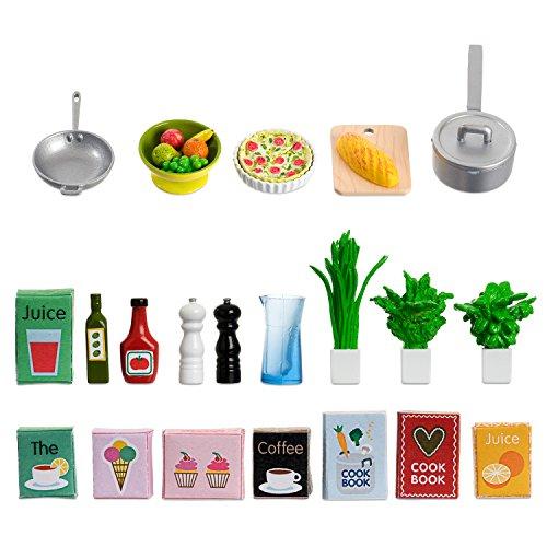 Lundby Küchenzubehör Puppenhaus - 26-teilig - Kochutensilien, Lebensmittelverpackungen, Kochbuch, Geschirr, Pfannen, Töpfe - ab 4 Jahre - 11 cm Puppen - Maßstab 1:18 - Minipuppen, Biegepuppen