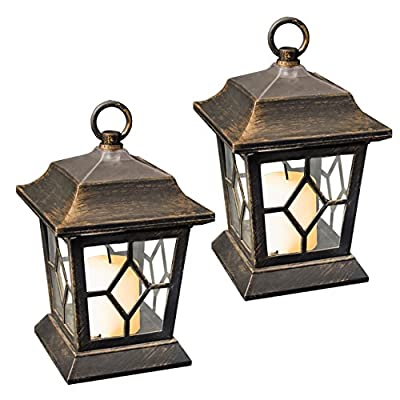 GardenKraft 18420 Table/Hanging LED Solar Flickering Candle Lantern Lights (Pack of 2) from Benross Group