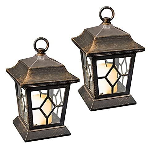 GardenKraft 18420 Table/Hanging LED Solar Flickering Candle Lantern Lights (Pack of 2)