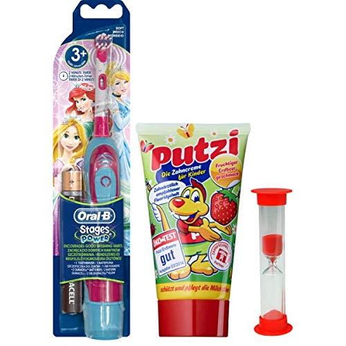 Braun Oral-B Stages Power Kids cls Batterie-Zahnbürste Kinder DB4.510.K Disney Prinzessin Princess Cinderella + Sanduhr + Kinderzahnpasta