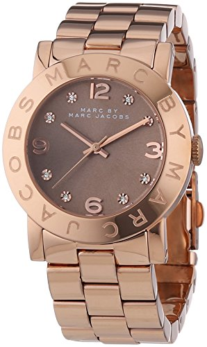 Marc Jacobs Women's Quartz Watch with Beige Dial Analogue Display and Rose Gold Stainless Steel Bangle MBM3221