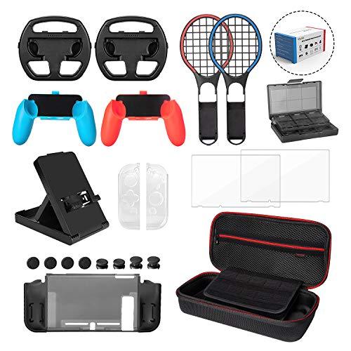 Younik juego de 22 accesorios en 1 para Nintendo Switch - Funda de transporte/Protectores de gel/Protector de pantalla/Cubiertas de mando analógico para la consola Nintendo Switch