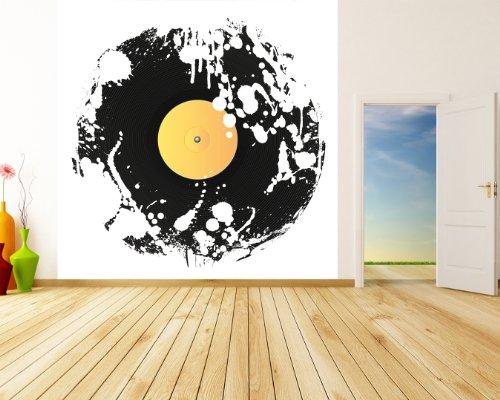 selbstklebende Fototapete Grunge Schallplatte 100x100 cm - Tapete mit Klebstoff – Wandtapete – Poster – Dekoration – Wandbild – Wandposter – Wand – Fotofolie – Bild – Wandbilder - Wanddeko