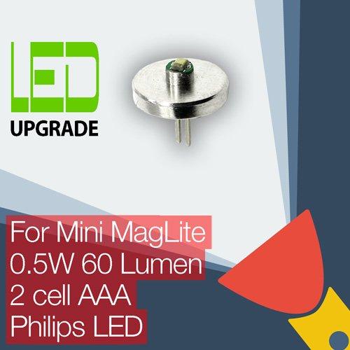 LED-Leuchtmittel für Mini Maglite - Umbau/Upgrade-Birne für die Taschenlampe, geeignet für Mini Maglite mit 2Stück AAA-Knopfzellenbatterien