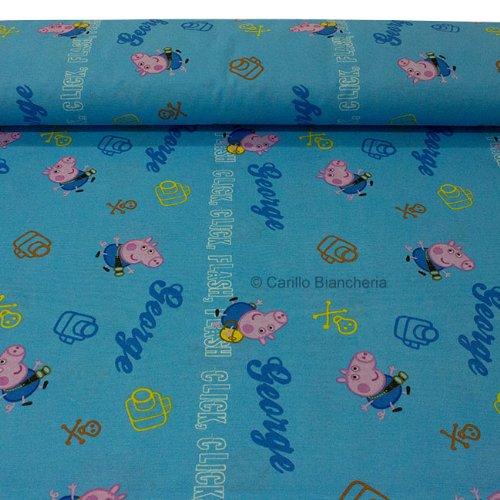Peppa Pig George Stoff Stoff Baumwolle Meterware Höhe 280Farbe hellblau H400