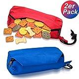 MUDEELA Hunde-Futterdummy/Idealer Trainingsdummy/Futterbeutel für Hunde/Apportier-Spielzeug & Snack-Dummy für das Hundetraining/Leckerlie-Beutel (2 Packungen - rot und blau)