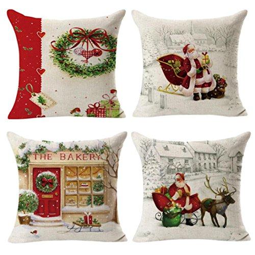 4 STÜCK Frohe Weihnachten Cartoon Santa Schneemann Gedruckt Baumwolle Leinen Sofa Auto Hause Taille Kissenbezug Dekokissen Fall 18X18