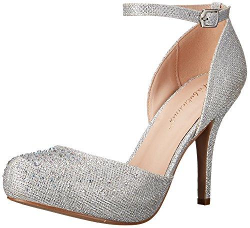 Pleaser Covet 03, Damen Pumps mit Fußgelenkriemchen, Silber - Silver (Slv Glitter Mesh Fabric) - Gr. 40 EU (7 UK)
