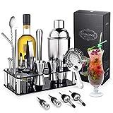 Igrome Coctelera de Cóctel 750 ml,Cocktail Shaker Set en Acero Inoxidable Kit Cocktail 16PCS para Vino,Boston,Bebida,Bar,Fiesta,Regalo de Familia