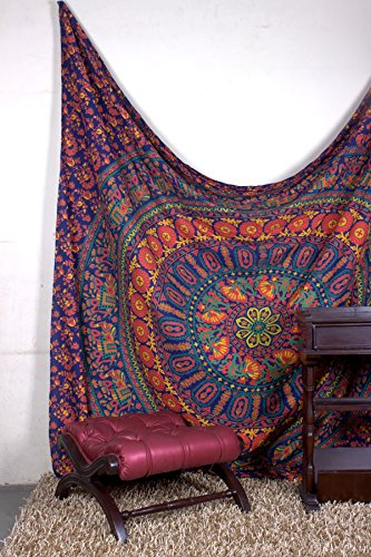 Tapestry Queen Flower Beautiful Artwork Mandala Mandala Beach BedSpread Intricate Indian Bedspread Tapestries 92x82 Inches by Aakriti Gallery (Dark Blue)