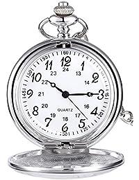 Reloj de Bolsillo de Cuarzo de Acero para Hombres Mujeres (Plateado)