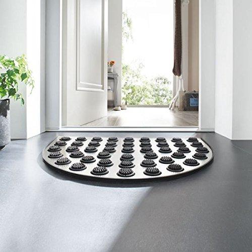 Betz Edelstahl Fußmatte halbrund mit Gummieinlage, Eingangsmatte Größe: 60x40x1,5 cm