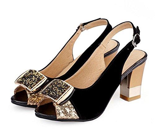 Aisun Femme Mode Chunky Peep Toe Sandales Avec Strass Noir
