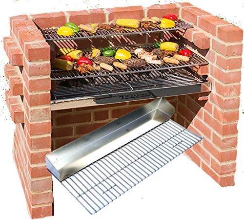Brick BBQ-Kit 100% sehr schwere Edelstahl + Grillpfanne Grill + Warmhalterost 90x 39cm + Aufbewahrungstasche. Black Knight bkb301g