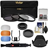 Vivitar 3-Piece Multi-Coated HD Filter Set (52mm UV/CPL/ND8) With Body & Rear Lens Caps + Hood + Diffusers + Lens Brush + Kit For Nikon DSLR Cameras
