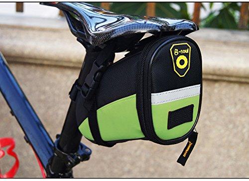 bravetzx Fahrradsatteltasche mit schnell zu öffnenden Schnallen, Wasserbeständige Fahrradtasche, Satteltaschen , 17 * 9.5 * 11.5CM , Wasserdicht Mountain Road MTB Tasche, Radfahren Strap-on Satteltasc Green