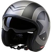 Casco de la Motocicleta Jet Casco Cascos Abiertos VIPER RS-V06 Casco de Moto Con Visera Nuevos Colores (M, Matt Negro Star)