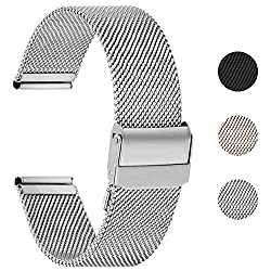 Fullmosa 22mm Uhrenarmband,Edelstahl Mesh Loop Ersatzband für Samsung Watch/Huawei Watch,22mm Silber