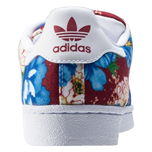adidas Superstar W, Sneakers Basses Femme Multicolore (Ftwwht/ftwwht/powred)