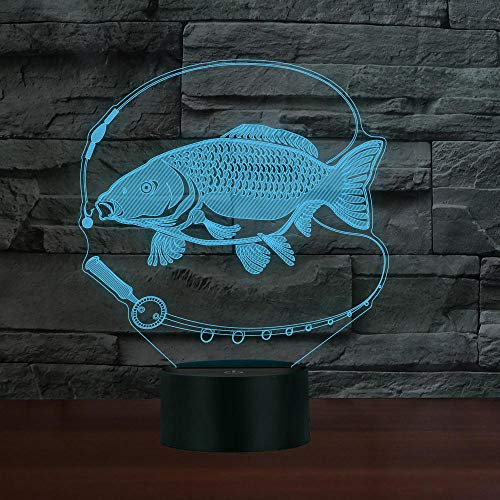 LLXPDZ 3D Nachtlicht Angeln Design Led 3 7 Farbwechsel Fisch Lampe Kinderzimmer Dekor Hotel Shop Dekor Geschenk