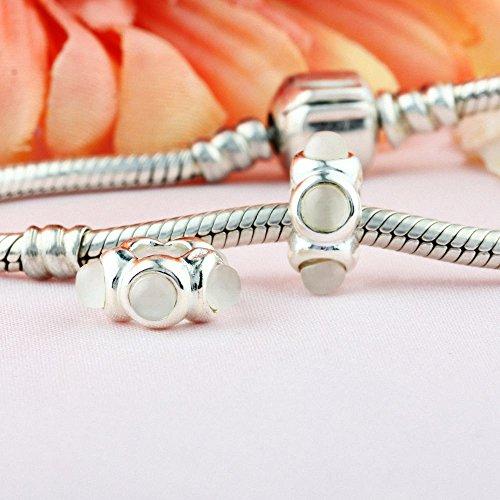 TAOTAOHAS Oxydé Antique Charm Beads Perles, en argent 925/1000 sterling, et Cristal( baiser, clair ) fit européen Bracelets Charme Breloques Clear