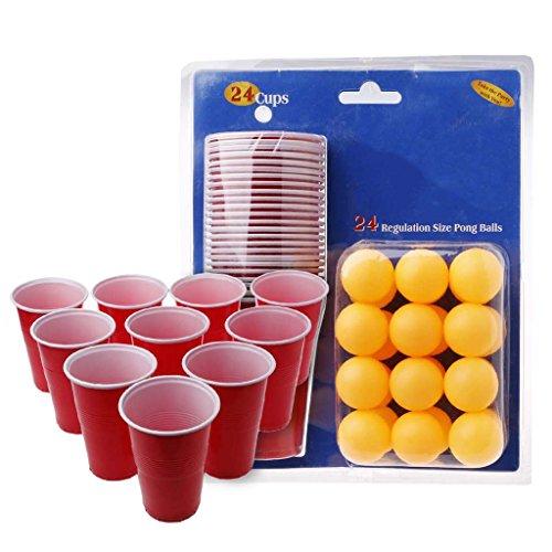Senoow Bier Pong Drinking Spiel Party Starter Set Tassen Bälle Weihnachten Pub BBQ Club Indoor Spaß Spielzeug, 2,36x4,92 Zoll