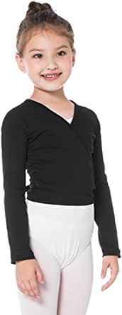 Bezioner Dance Wrap Top Ballet Cotton Crossover Cardigan Long Sleeve for Girls Womens