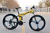 M-TK Mountainbike Klapprad 24-26 Zoll Rad, DREI Schaltmöglichkeiten (21-24-27), Off-Road-Spezialreifen,Yellow,26' 21speedchange