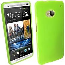igadgitz Verde Case TPU Gel Funda Cover Carcasa para HTC One M7 Android Smartphone + Protector de pantalla