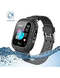 Jaybest Kinder Smartwatch Telefon Uhr,wasserdichte Kid Smart Watch für Jungen Mädchen mit LBS Tracker SOS Anruf Kamera Anti-Lost Voice Chat (Black)