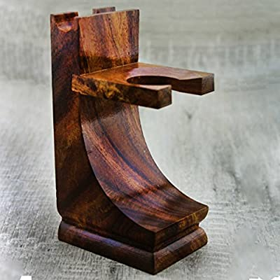 Men's Shaving Wooden Stand For Both Razor & Brush. Made With Pure Rose Wood. Perfect For all Type of Brush & Razors.