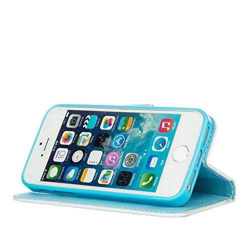 PU für Apple iPhone 5 5S SE Hülle,Geprägte Campanula Handyhülle / Tasche / Cover / Case für das Apple iPhone 5 5S SE PU Leder Flip Cover Leder Hülle Kunstleder Folio Schutzhülle Wallet Tasche Etui Sta 4