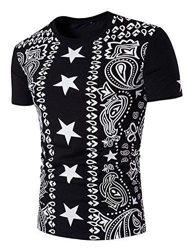 YCHENG Herren T-Shirt Sterne Hip Hop Kurzarm Slim Fit Hemd Rundhals Basic Shirt mit Drucken Schwarz