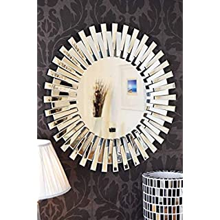 HomeZone® Deluxe Luxury 90cm Large Round Hangable Decorative Wall Mirrors Sunburst Art Deco Wall Mountable Mirrors For Home Living Rooms Bedrooms Hallways Elegant Large Ornate Shabby Chic Mirrors
