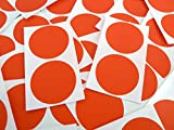 50 Labels , 50mm Diameter Round , Red , Colour Code Stickers , Self-Adhesive Sticky Coloured Dots