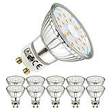 EACLL GU10 LED Warmweiss Leuchtmittel 5W 2700K 450 Lumen Glühbirnen perfekter Ersatz 50W Halogen Lampen. Lichtwinkel 120 Grad Warmweiß Licht Tageslichtweiß Birnen, 10 Pack