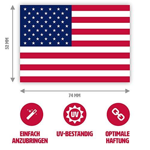 10 x Aufkleber USA-Flagge / Amerika-Fahne, 7,4 x 5,2 cm für innen und außen (Us-star 50)