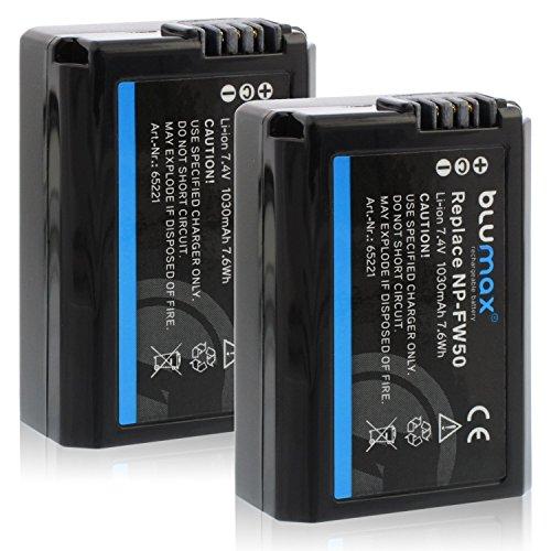 Blumax 2X Akku ersetzt Sony NP-FW50 1030mAh kompatibel mit Alpha ILCE XQ1 Alpha 5000 5100 6000 6300 6500 Alpha 7 7II 7S usw. CyberShot DSC RX10 - NEX-6 NEX-F3 NEX-7 NEX-7B NEX-7C NEX-7K NEX-3 1030mah-batterie