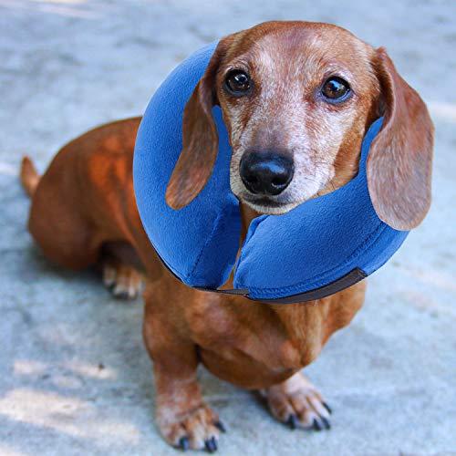 E-KONG Schutz aufblasbar Halsband für Hunde und Katzen, Bequemer Verstellbarer Pet Recovery Halsband, Medical postoperative Wundheilung Membran, Nicht Block Vision -, S, Blau