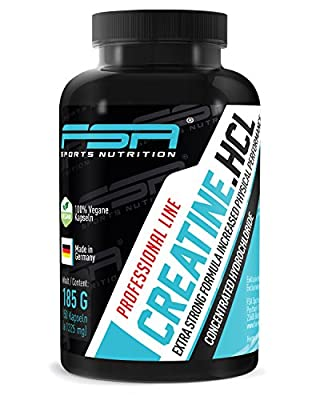 Creatine HCL hydrochloride capsules, 1,000 mg of creatine each from the German pro sport brand FSA Nutrition® | High-dose, vegan | For fitness training and muscle development | 150 capsules from FSA Nutrition