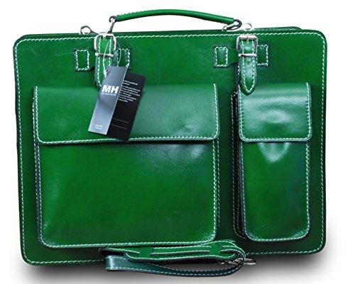 College Tasche Aktenkoffer Schule Tasche Lehrer Tasche Messenger Leder Tasche Vintage Rot, Farbe:Grün Grün Weiß