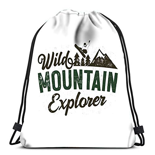 Randell Gym Drawstring Backpack Sport Bag Wild Muntain Explorer Badge Snowboarder Trees Lightweight Shoulder Bags Travel College Rucksack for Women Men
