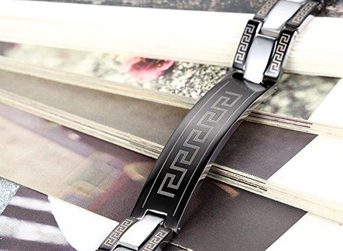 Flongo Acier Inoxydable Bracelet Charmant Homme Rayure Mur Noir Argent Fashion Chaine de Main Chic Manchette C